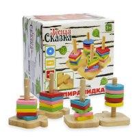 """Деревянная игрушка-сортер """"пирамидки"""", 20 деталей, Лесная сказка (игрушки)"""