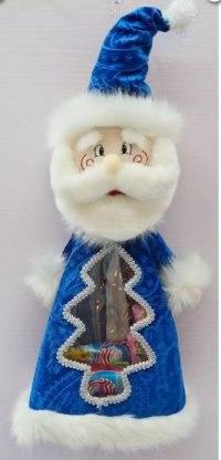 """Мешок для подарков """"дед мороз"""", 35 см (синий), Новогодняя сказка"""