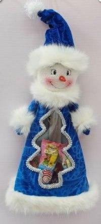 """Мешок для подарков """"снеговик"""", 35 см (синий), Новогодняя сказка"""
