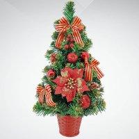 """Хвойное украшение """"елка"""", 40 см, цвет: зеленый, красный, Mister Christmas"""
