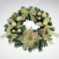 """Хвойное украшение """"венец"""", 40 см; цвет: зеленый, золотой, Mister Christmas"""
