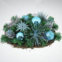 """Хвойное украшение """"корзина"""", 30 см; цвет: зеленый, голубой, Mister Christmas"""