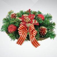 """Хвойное украшение """"корзина"""", 30 см; цвет: красный, зеленый, Mister Christmas"""
