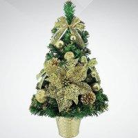 """Хвойное украшение """"елка"""", 30 см, цвет: зеленый, золотой, Mister Christmas"""