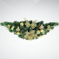 """Хвойное украшение """"гирлянда"""", 60 см; цвет: зеленый, золотой, Mister Christmas"""