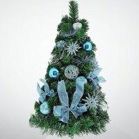 """Хвойное украшение """"ёлка"""", 60 см; цвет: зеленый, синий, Mister Christmas"""