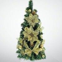 """Хвойное украшение """"ёлка"""", 60 см; цвет: зеленый, золотой, Mister Christmas"""