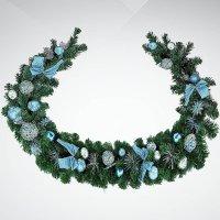 """Хвойное украшение """"гирлянда"""", 180 см; цвет: зеленый, синий, Mister Christmas"""