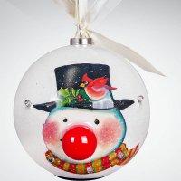 "Шар ""папье-маше"", цвет: белый, диаметр: 80 мм, Mister Christmas"