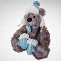 """Игрушка мягкая """"медвежонок"""", 25 см; цвет: серый, голубой, Mister Christmas"""