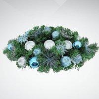 """Хвойное украшение """"подсвечник"""", 50 см; цвет: синий, зеленый, Mister Christmas"""