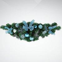 """Хвойное украшение """"гирлянда"""", 60 см; цвет: зеленый, синий, Mister Christmas"""