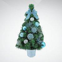 """Хвойное украшение """"елка"""", 30 см, цвет: зеленый, синий, Mister Christmas"""