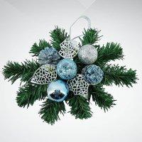"""Хвойное украшение """"снежинка"""", 30 см; цвет: синий, зеленый, Mister Christmas"""