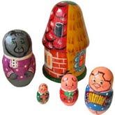 """Матрёшка """"три поросенка"""" (5 в 1: дом, волк, 3 поросенка), Русские народные игрушки"""