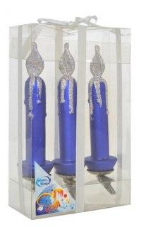 """Набор елочных украшений """"свечи"""", 3 штуки, 10 см, синие, WINTER WINGS"""