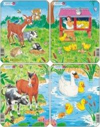 """Пазл """"забавные животные"""", 10 деталей, Larsen (игрушки)"""