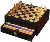 Подарочный набор (шахматы, шашки, покер) в черном боксе, 430x410x165 мм, Renzo Romagnoli