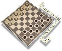 Набор настольных игр 3 в 1 (шашки, шахматы, домино), 27,5x27,5 см, Classic