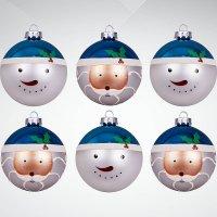"Набор украшений ""дед мороз и снеговик"",  6 штук, синий/белый, Mister Christmas"