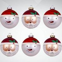 """Набор украшений """"дед мороз и снеговик"""", 6 штук, красный, белый, Mister Christmas"""
