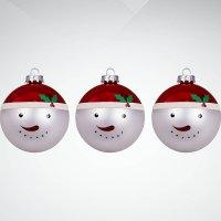 """Набор украшений """"снеговик"""", 3 штуки, красный/белый, Mister Christmas"""