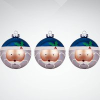 "Набор украшений ""дед мороз"", 3 штуки, синий/белый, Mister Christmas"