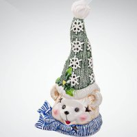 """Подсвечник """"медвежонок"""", 23 см, белый с зеленым, Mister Christmas"""