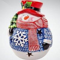 """Подсвечник """"снеговик"""", 13 см, синий с белым, Mister Christmas"""