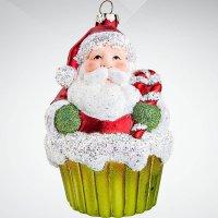 """Украшение """"дед мороз"""", цвет: красный; 11 см, Mister Christmas"""