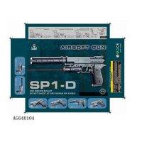Пистолет пневматический с лазерным прицелом, с глушителем, с пульками, ag640104, Shantou Gepai