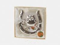 """Украшение подвесное """"подкова с совой"""", серебристое, 10x11x1 см, Monte Christmas"""