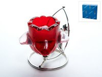 """Подсвечник декоративный """"красный цветок"""" (1 свеча), 10,5x7,5x9,5 см, ENS"""