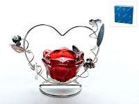 """Подсвечник декоративный """"красный цветок"""" (1 свеча), 15,5x9x11,5 см, ENS"""