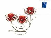 """Подсвечник декоративный """"красный цветок"""" (3 свечи), 24,5x10x21,5 см, ENS"""