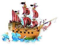 """Пазл большой в круглом чемоданчике """"пиратский корабль"""" (39 элементов), Janod"""