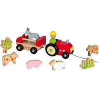 """Каталка на веревочке """"трактор с животными"""", Janod"""