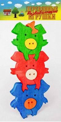 Три поросенка. деревянный пазл-конструктор, 7 элементов, Анданте