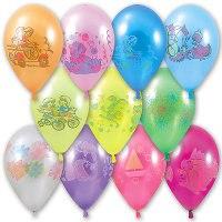 """Воздушные шары 12"""" с рисунком, металлик, 100 штук, Веселый праздник"""