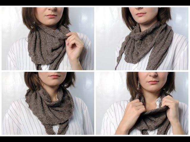 Как связать треугольный шарф бактус / Knitted Triangle Scarf Tutorial | Школа вязания