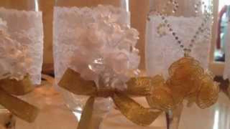 Как сделать свадебные бокалы своими руками.