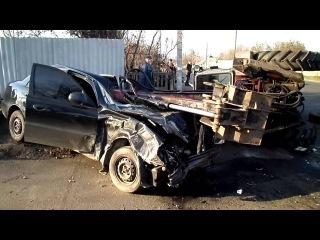 Авария 2013 ДТП №1385, 6 Ноября, Горловка, Авария Ланоса и трактора последствия