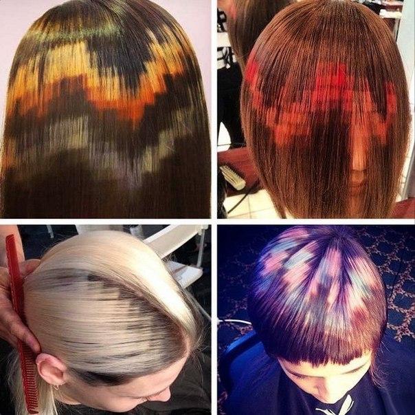 Пиксельное окрашивание волос (квадратиками)