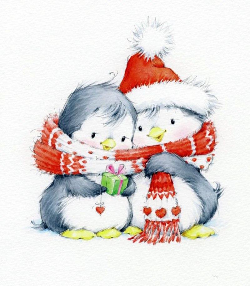 Новогодние рисунки для открытки милые, держись все будет