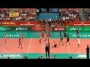 Long volleyball action beetwen Russia and Iran finished by Seyed