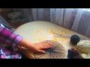 Гобелен своими руками на картоне Круг Часть 1 Натягивание нити основы
