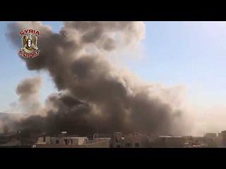 Сирия Дараа  Mig-23 ВВС САР наносит бомбовый удар по позициям боевиков