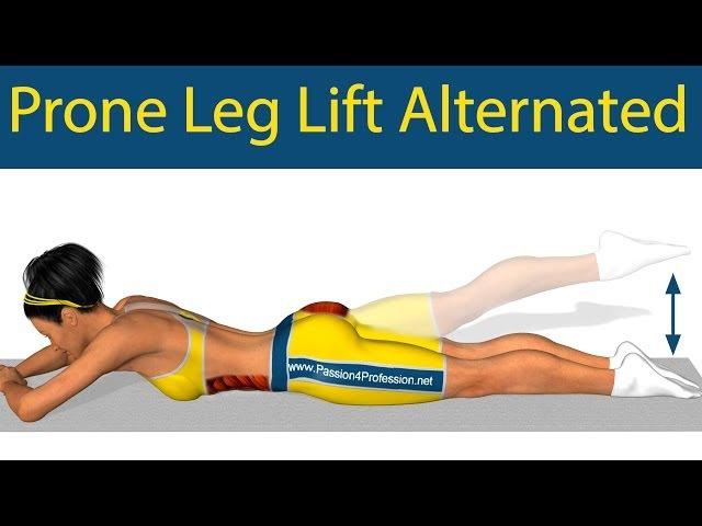 Pilates exercises: Prone Leg Lift Alternated