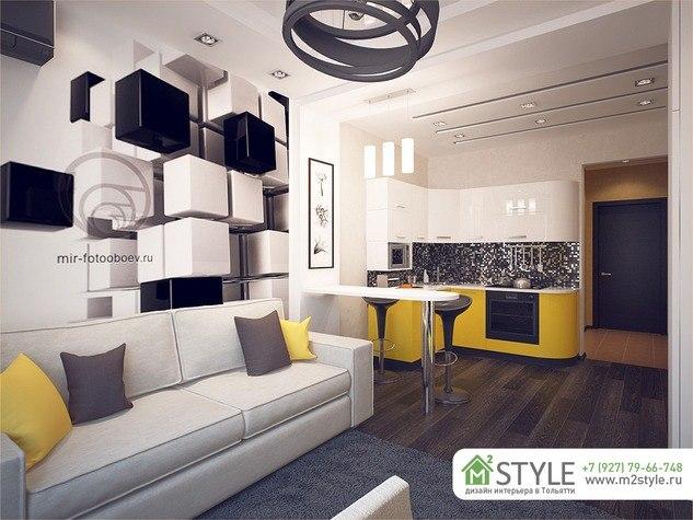 Проект квартиры-студии 28 м от компании m2Style, Тольятти.