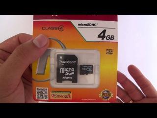 Карта памяти MicroSDHC 4Gb Transcend Class 4 адаптер SD